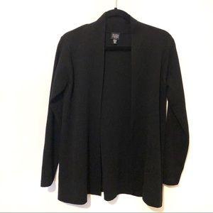 Eileen Fisher Wool Open Front Black Cardigan
